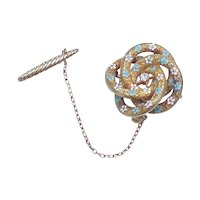 Victorian Pendant / Brooch 14k Gold & Diamond Enamel Accent