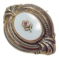 Victorian Pendant / Brooch, Sentimental Forget Me Not ~ 9k Gold on Sterling Silver