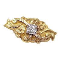 Victorian / Nouveau Brooch Diamond 14k Gold Platinum