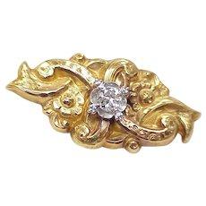 Victorian / Nouveau Brooch Diamond 14k Gold Platinum