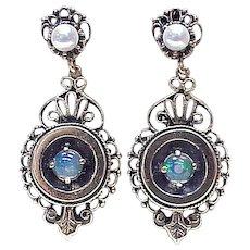 Victorian Era Jelly Opal & Cultured Pearl Drop Earrings