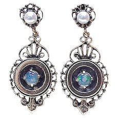 Victorian Era Jelly Opal & Cultured Pearl Drop Earrings