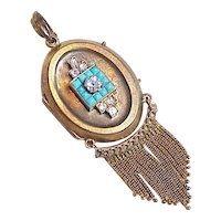 Victorian Large Locket Pendant Diamond & Turquoise 18k Gold