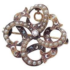 Victorian Art Nouveau Brooch / Pendant, Diamond & Seed pearl