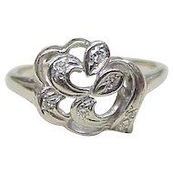 Vintage Diamond Ring 14k White Gold circa 1940's