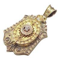 Victorian Locket Etruscan Revival 14k Gold & Diamond