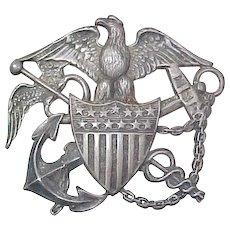 Vintage WWII Sterling Silver Badge Blackington Navy Nurse Cadet