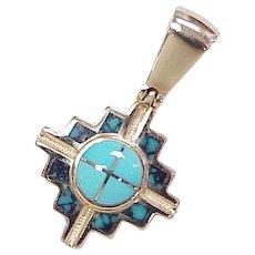 Zuni Cross Pendant 14k Gold & Turquoise signed DG