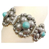 Vintage Sterling Silver Bracelet 1930's MEXICO Turquoise Floral Beaded