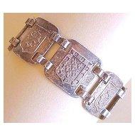 Vintage Sterling Silver Heraldic Crest Bracelet