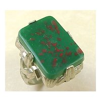 Vintage Ring Sterling Silver Faux Blood Stone UNCAS c. 1940-50's