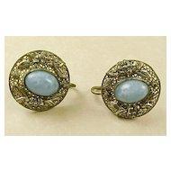 Vintage Czech Glass Earrings Screw Back Sterling Silver circa 1920's.