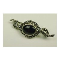 Vintage Sterling Silver Onyx & Marcasite Bar Pin