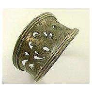 Vintage Wide Cuff Bracelet Sterling Silver  Hand Crafted Pierced Detail