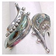 WIDE Clamper Bracelet Vintage Mexico Sterling Abalone & Bead Detail