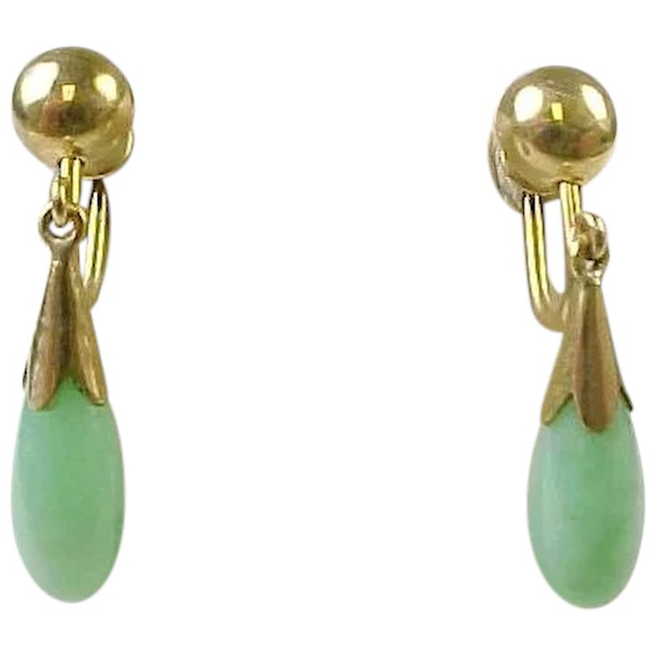 Vintage 14 K Gold Jade Drop Earrings Back 1950 S