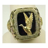 GENTS Vintage Sterling Silver & 12k Black Hills Ring ~ Duck Detail