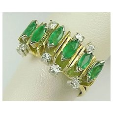 Vintage 18 K Yellow Gold .96 Carat Marquise Emeralds, Accented With 0.18 Carat Round White Diamond Ring