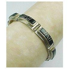 Navajo Calvin Begay Sterling Silver Black Onyx Bracelet