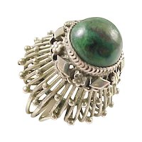 TALL Dome Ring Hand Crafted Sterling Silver & Green Turquoise