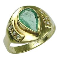 Vintage 18K Yellow Gold Bezel Set Emerald and Diamond Ring