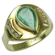 Vintage 18K Yellow Gold Bezel Set Emerald and Diamond Ring