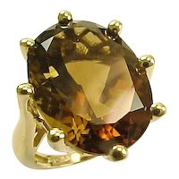 Vintage  Oval  Smoky Quartz Ring 10 K Yellow Gold