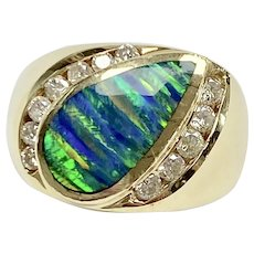 Created Peacock OPAL & Diamond .39 ctw Vintage Ring 14K Gold