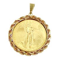 US Gold Coin Pendant $50 / 1 OZ 14K Gold Frame, 40.8 Grams Total