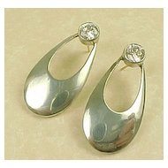 LARGE Drop Earrings 4 CTW Faux Diamond & Sterling Silver