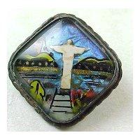 Vintage Alfano RIO Brazil Butterfly Wing Brooch Religious Motif