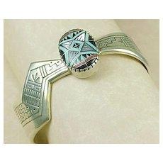 Native American Bracelet Sterling Silver Intarsia Morning Star Lightning Arrow