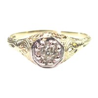 Art Deco .26 Carat Diamond Solitaire Ring Filigree Setting
