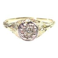Art Deco .26 Carat Diamond Solitaire Ring Filigree Setting