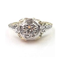 Art Deco 1923 0.32ct Diamond Solitaire Ring, Beautiful Floral Setting