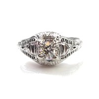 Art Deco 0.35ct Diamond Solitaire, Ornate 18k Setting