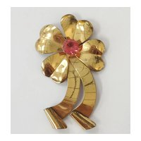 Sterling Vintage 1950's Large Clover Ribbon Brooch Signed Jordan