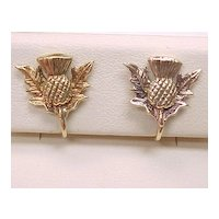 Vintage Screw Back Earrings 9ct European Gold, Scottish Thistle