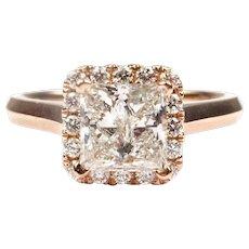 Diamond 1.74 ctw Princess Halo Engagement Ring 14k Rose Gold 143