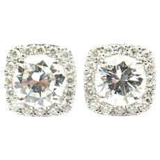 Diamond 1.78 ctw Round Brilliant Halo Studs Earrings 14k White Gold