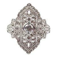 Art Deco Inspired .54 ctw Diamond Ring 14 White Gold