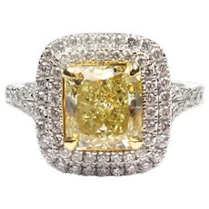 Stunning Platinum & 18k Gold 2.51 ctw Natural Fancy Yellow Diamond Double Halo Engagement Ring GIA Certified 143