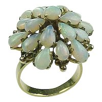 Big 1950's OPAL Cluster Ring 14k Yellow Gold size 6 Very Colorful!