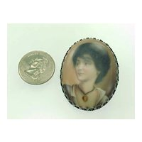 Victorian Hand Painted Portrait Brooch Sterling Silver