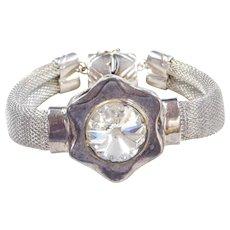 """Sterling Silver Big Faux Diamond Flower Bracelet ~ 7 3/4"""""""