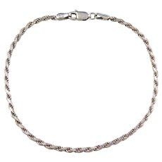 """Sterling Silver Diamond Cut Rope Bracelet ~ 7 1/2"""""""