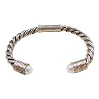 Sterling Silver Twisted Cultured Pearl Cuff Bracelet