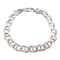 """Sterling Silver Flat Marine Anchor Link Bracelet ~ 8 1/4"""""""