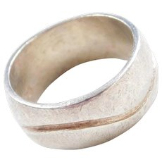 Sterling Silver Band Ring with Wave Line