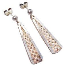 Sterling Silver Long Silver Earrings
